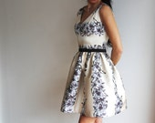 Champagne Color with Lilac Flower Print V front V back Thick Satin Party Dress Volumed Skirt