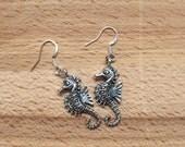 Seahorse earrings/ silver seahorse earrings/ nautical earrings/ ocean jewelry/ beach jewelry/ shore earrings