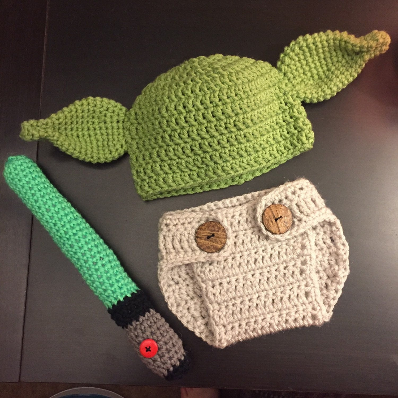 Free Crochet Pattern For Baby Yoda Hat : Crochet Yoda Baby Outfit Photo Prop