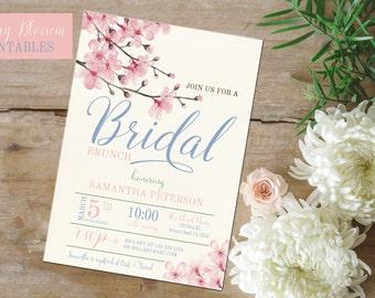 Cherry Blossom invite, Bridal Shower invitation, Cherry Blossom theme printables, Cherry Blossom Bridal shower invite