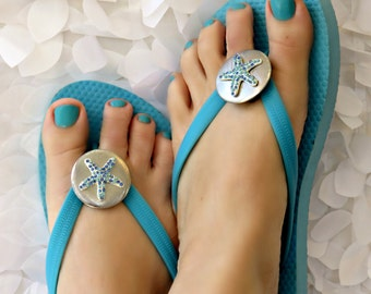 Starfish Flip Flop Wrap Clips, Flexible Removable Versatile Shoe Clips, Sandal Clips, Scarf Accessory,