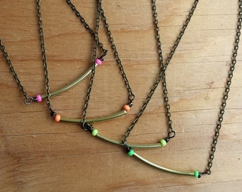 Brass & Neon Necklace - Dainty Unique Jewelry for Her - Stocking Stuffer - Choose your Colour - Made in Canada - Cute Jewelry