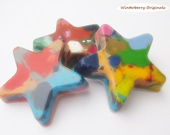 Upcycled Large Star Crayons - Multi-Colored , Bag of 3 - Recycled Crayons , Party Favor , Stocking Stuffer