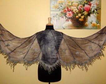 "Felted ruffled shawl scarf "" Black angel"" - White Dream - Wedding Bride - "" Angel wings"" Butterfly wings bird goth curly"