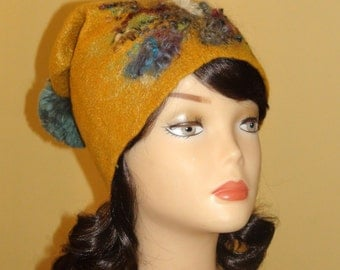 "Felted beanie  "" Saffron""  Old gold mustard with  ball Pom pom Baggy  tassel curly Skull Caps & Beanies"