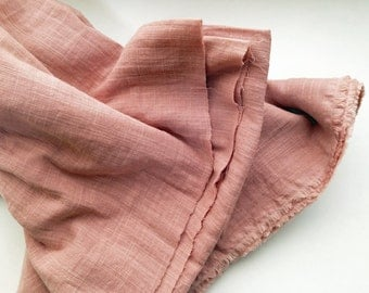 cotton double gauze fabric. soft japanese pure cotton fabric. 102cm (40in) wide. sold by 50cm (19in) long / half yard. salmon pink