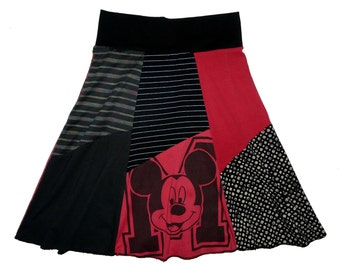 Disney Mickey Mouse Women XS Small Upcycled Hippie Skirt recycled t-shirt clothing from Twinkle