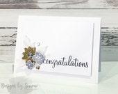 Glitter & Vellum Floral Congrats Card