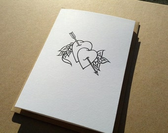 A6 Valentines Card - Black Hearts, tattoo style