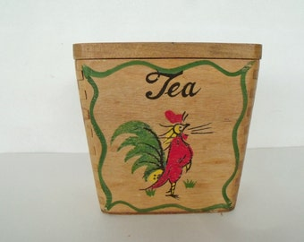 Vintage Tea Canister Rooster Wood Chicken