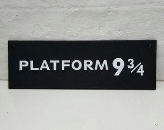 Platform 9 3/4 Sign Hand Painted Wooden Sign Wall Art Harry Potter Fan Gift