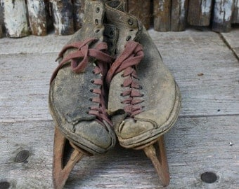 Vintage Ice Skates - Sports Decor - Kids Ice Skates - Leather - Holiday Decor