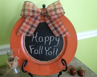 Fall Burnt Orange Chalkboard Charger with Plaid Bow / Fall Decor