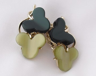 Vintage Earrings Signed Star, 1950s Retro Clip Backs, Forest and Jade Green
