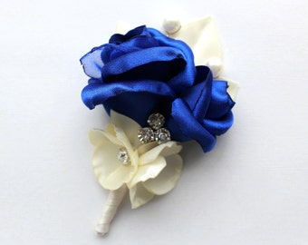 Royal Blue Ivory Boutonniere/ Blue Lapel Pin/ Choose Your Color Boutonniere/ Handmade Wedding Accessory