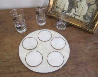 Mother of Pearl Tray and Five Coasters Set. CAPIZ Shell Tray and Coasters