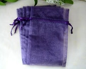 4 x 6 PURPLE Organza Bags for Party Favors, Baby Shower Favors, Gift Bags, Saches, Wedding Favor, Jewelry, 10 pcs
