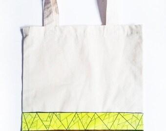 SALE -15% Neon Yellow and Brown Tote Bag- Shopping bag - Book bag