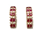 RESERVED for B - Ruby and Diamond Earrings - 14k Gold - Natural Rubies and Diamonds - Vintage