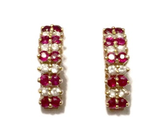 Ruby and Diamond Earrings - 14k Gold - Natural Rubies and Diamonds - Vintage
