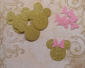 Baby Minnie Gold Glitter Mouse Head Shapes Princess Pink Glitter Bows Die Cuts for Cupcake Picks Baby Showers DIY Kids Birthday Party Tags