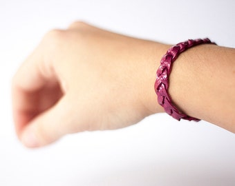 Leather Braided Bracelet / Hibiscus