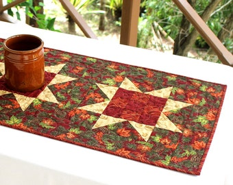 Fall Table Runner, Quilted Table Runner, Maple Leaves, Autumn Table Topper, Red Table Quilt, Rustic Cabin Decor, Large Table Runner