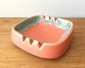 Mid Century Modern Ashtray Retro Mod Pottery Turquoise & Peach