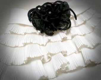 Vintage Black Cream Ruffle Jabot Collar Gothic Wedding