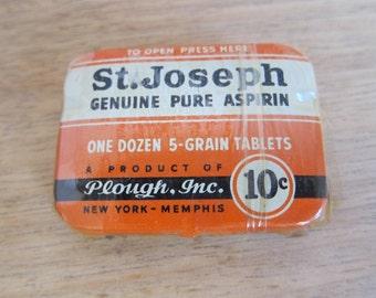 Medical St Joseph Genuine Pure Aspirin Orange Metal Tin, Industrial Home Decor Bathroom Canisters, Unique Medical Graduation Gift Ideas