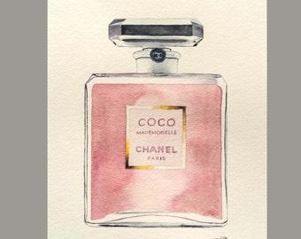 "Water Color Coco Mademoiselle Perfume Original ( 8"" x 10"") Art"