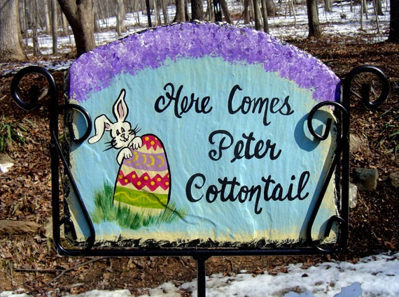 Large 12 In Easter Egg Bunny Slate Welcome Sign Hand Painted Personalized Garden  Yard Art For Sale Is A Hand Painted, Slider Slate Welcome Sign Of An Easter  ...