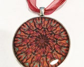 Red and Orange, Mandala Necklace, Resin Pendant, 40mm, Silver Bezel, red ribbon, lobster clasp, Geometric Jewelry, Resin Jewelry