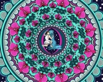 Aquarius Mandala, Water Bearer, Air Sign, Aquarius Art, Zodiac Artwork, Astrology Art, Aquarius Print, Zodiac Art, Zodiac Mandala, Star Sign