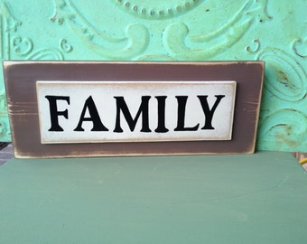 Rustic Brown and Ivory Family Sign, Gallery Wall Family Sign, Distressed Home Decor Signs