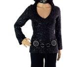 ON SALE Beautiful Vintage Glam Rock Sequin V Neck Sweater