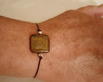 Men's Adjustable Bronzite and Black Greek Leather Bracelet