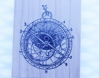 Astrolabe rubber stamp Stampa Rosa #I 59-378  RARE Wood mounted