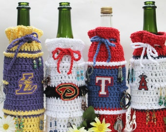 Bottle cozy for EARRING storage and display Wine bottle cozy bag with a team inspired logo bag Crochet