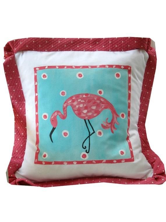 Pink Flamingo Beach Pillow