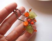 Statement earrings, fashion jewelry, flower earrings, gift for woman, orange earrings, things that shine, copper wire earrings, Bouquet