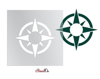 """Navigational Compass Wall and Craft Stencil - Reusable Mylar - Sizes 1"""" to 21"""""""