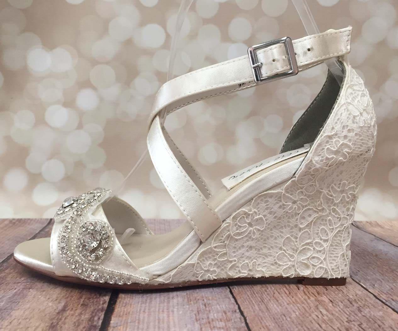 ivory wedding shoes lace wedding wedges ivory lace wedges