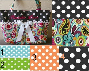 Diaper bag, handbag, purse, book bag..Paisley N You Choose Dots with Name choose a font..Match your carseat canopy(see fashionfairytales).