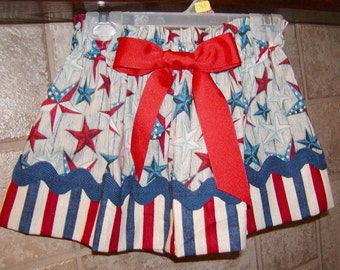 Girls Skirt Custom skirt...Stars N Stripes..Available in 0-12 months, 1/2, 3/4, 5/6, 7/8, 9/10 Bigger Sizes Available