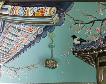 Korean Traditional Designed Envelope with Memo Card - Korean Eaves With Fish Wind Bell