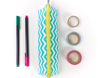 Small Pencil Case in Turquoise Chevron Geometric Fabric Cute Brush Pouch Back to School Gift for Girl