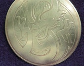 Dragon Jewelry - Handmade Single Piece Brooch or Hair Tie Etched with Dragon Design in Brass - Work in Progress