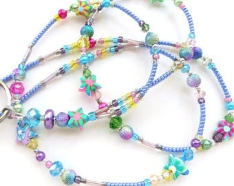 STARRY SPRING- Beaded ID Lanyard Badge Holder- Polymer Clay, Pearls, and Sparkling Crystals (Magnetic Clasp)