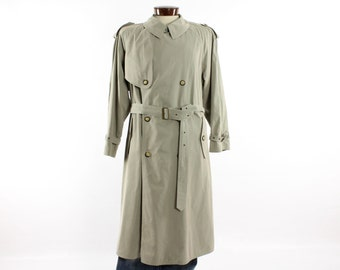 Vintage 80s HUGO BOSS Trench Coat Swiss Made Mens Outerwear Long Pea Coat 1980s Tan Khaki Belted Large L